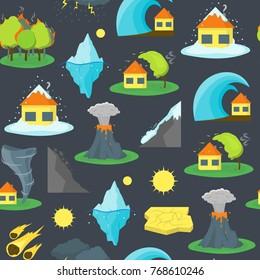 Cartoon Natural Disaster Background Pattern Flat Style Design Element Danger Insurance Concept. Vector illustration
