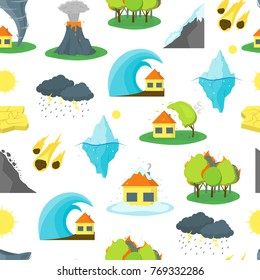 Cartoon Natural Disaster Background Pattern on a White Flat Style Design Element Danger Insurance Concept. Vector illustration