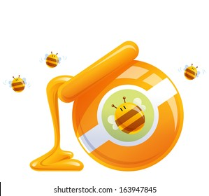 Cartoon natural honey in pot and happy hive flying around