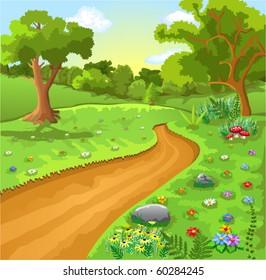 cartoon natural landscape