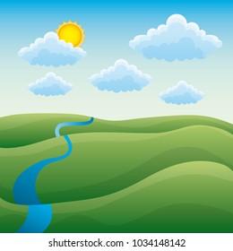 cartoon natural landscape green hills river cloud sun