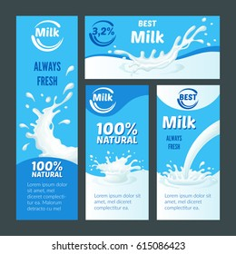 Cartoon natural milk brochures with liquid splashes and drops for packaging design vector illustration