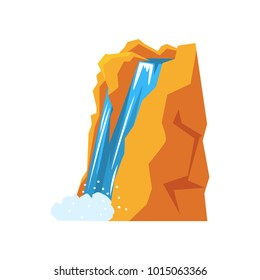 Cartoon natural spring waterfall pouring down from high mountain cliff. Source of clean and fresh water. Nature environment concept. Colorful flat vector design