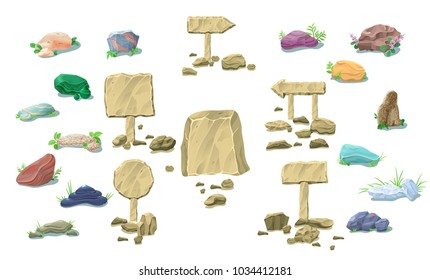 Cartoon natural stones collection with colorful beautiful rocks blank signboards pointers and plants isolated vector illustration