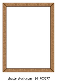 Cartoon natural wood frame on white background.
