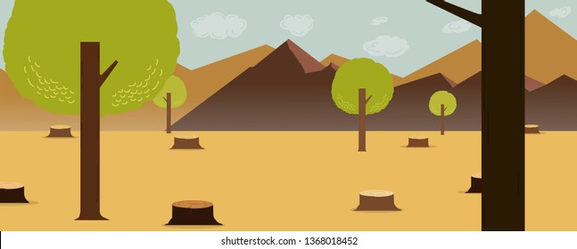 Cartoon nature deforest design with mountains and sky background.vector illustration.Deforest concept.Global warming concept. Cutting down trees. Environmental pollution and Ecological problems