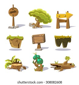 Cartoon nature elements, vector objects on white background vector