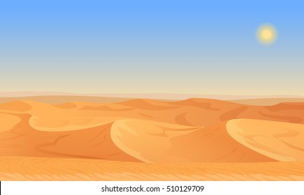 Cartoon nature empty sand desert landscape vector illustration