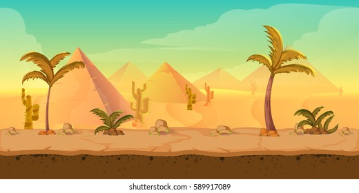 Cartoon nature sand desert landscape with palms, herbs and mountains. Vector game style illustration