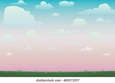 Cartoon nature seamless horizontal landscape with a beautiful evening or morning sunset sky and clouds. Vector illustration.