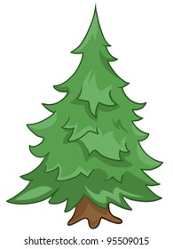 Cartoon Nature Tree Fir Isolated on White Background. Vector.
