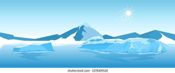 Cartoon nature winter arctic ice landscape with iceberg