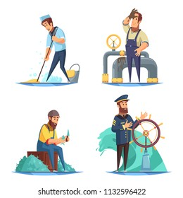 Cartoon nautical 2x2 design concept with captain and sailors isolated on white background vector illustration