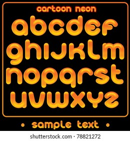 Cartoon Neon Font  - funny alphabet for your text or design