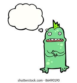 cartoon nervous swamp creature