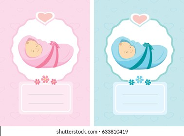 cartoon new born cardcute background templatevector illustration - New Born Baby Card