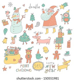 Cartoon New Year and Christmas set in vector. Cute Santa Claus, Snowman, fir tree, gifts, dogs, bear, toys, penguin and other holiday elements