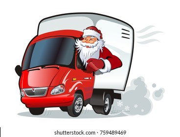 Cartoon New Year`s truck isolated on white background. Available EPS-10 vector format separated by groups and layers for easy edit
