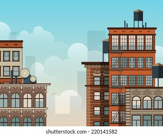 Cartoon New York rooftops. Old style architecture. EPS10 vector illustration.
