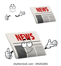 Cartoon newspaper character with news  headline  show thumb up gesture, isolated on white background