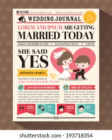 Cartoon Newspaper Journal Wedding Invitation Vector Design Template