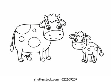 Cartoon nice mother cow and her cute calf. Outline