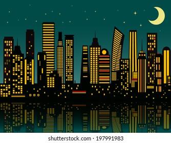 Cartoon night city. Vector eps 10
