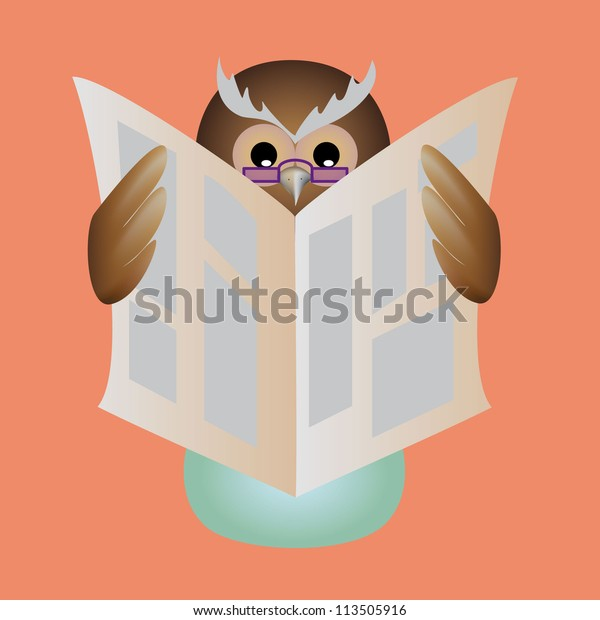 Cartoon Night Owl Glasses Sitting On Stock Vector (Royalty Free