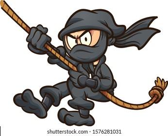 Cartoon ninja in black suit swinging from a rope clip art. Vector illustration with simple gradients. All in a single layer.