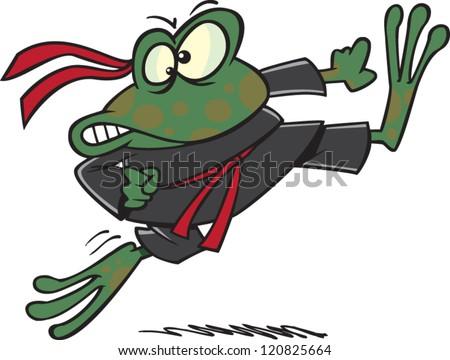 Cartoon Ninja Frog Karate Outfit Stock Vektorgrafik Lizenzfrei