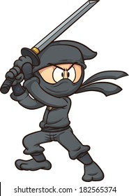 Cartoon ninja holding a sword. Vector clip art illustration with simple gradients. All in a single layer.