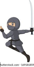 Cartoon ninja on white background