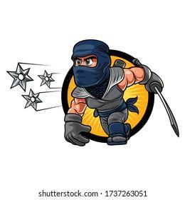 Cartoon Ninja Shuriken Mascot Logo