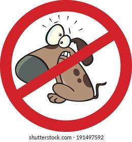 cartoon no dogs allowed sign