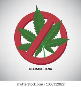 Cartoon No marijuana vector icon.