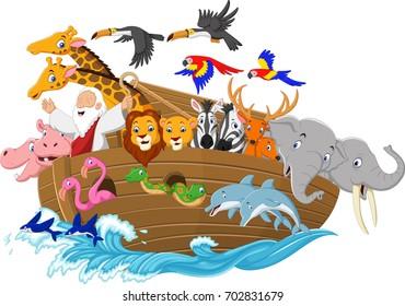 Cartoon Noah's ark isolated on white background