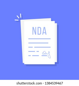 cartoon non-disclosure agreement doc. concept of contract between two partners or important document. flat style trend modern nda logotype graphic art design isolated on color background