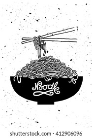 Cartoon noodles in the bowl with chopsticks. Hand drawn vector illustration. Kitchen design with Asia food