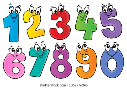 Cartoon numbers theme set 1 - eps10 vector illustration.