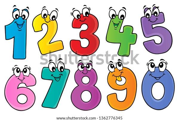 Cartoon numbers theme set 1 - eps10 vector illustration.