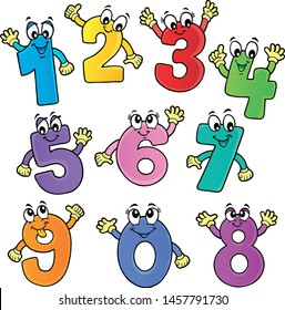 Cartoon numbers theme set 2 - eps10 vector illustration.