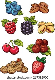 Cartoon nuts and berries. Vector clip art illustration with simple gradients. Each on a separate layer.