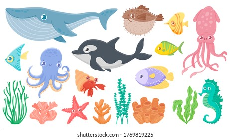 Cartoon ocean animals. Funny blue whale, cute hedgehog fish and orca. Octopus, squid and seahorse. Underwater sea life vector illustration set. Ocean fauna, dolphin seahorse, octopus and jellyfish