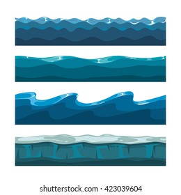 Cartoon ocean or sea waves vector patterns for computer games. Water waves horizontal seamless backgrounds