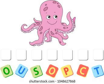 Cartoon octopus crossword. Put the letters in the correct order