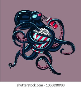 Cartoon octopus is watching movies on 3d glasses and eating popcorn. Humorous illustration.