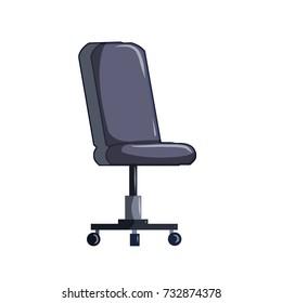 cartoon office chair on wheels gray flat