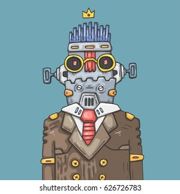 cartoon office robot. Funny robot manager.