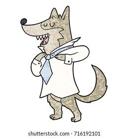 cartoon office wolf getting dressed