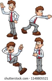 Cartoon office worker employee in different poses. Vector clip art illustration with simple gradients. Each on a separate layer.